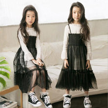 09e399f34dc7 Las chicas de moda conjuntos de ropa de encaje negro vestido de traje para  los adolescentes de la princesa niños vestidos de fie.