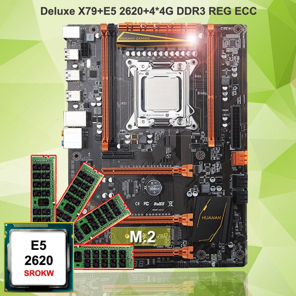 Marque carte mère avec M.2 sur vente HUANAN ZHI deluxe X79 gaming carte mère avec CPU Intel Xeon E5 2620 SROKW RAM 16g (4*4g) RECC