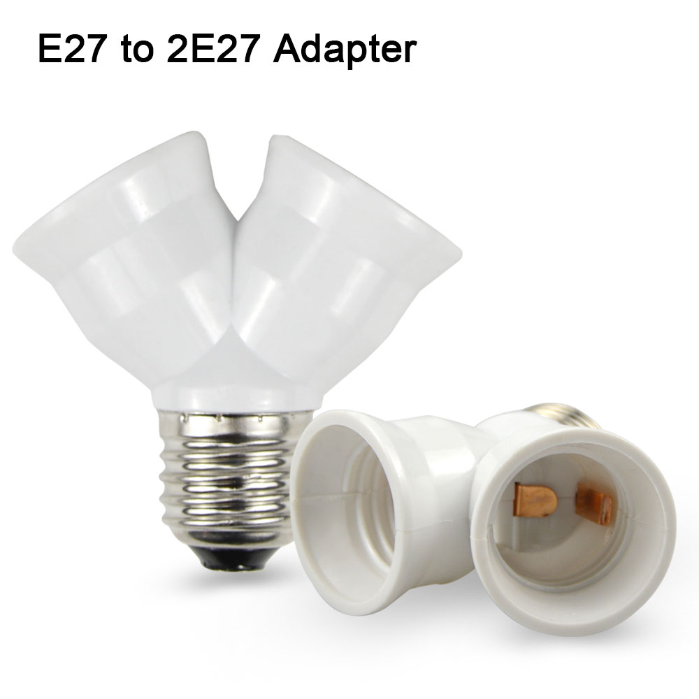 1pcs white body e27 to 2 e27 lamp holder converter socket conversion light bulb base type 2e27 y Light bulb socket