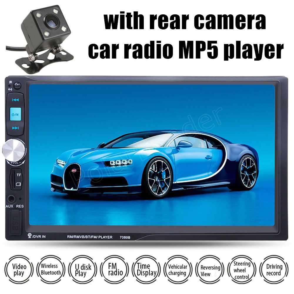 2DIN 7 inç arka kamera araba radyo MP5 çalar Stereo FM USB TF dokunmatik ekran Bluetooth ayna bağlantı ekran ayna android telefon için