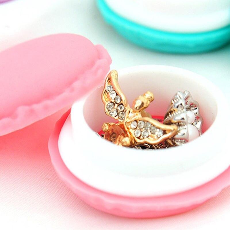 1pc Cute Pink Color Macaron Jewelry Box Organizer Mini Storage Box Clip Holder Case