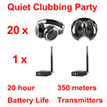 Silent Disco compete system black folding wireless headphones - Quiet Clubbing Party Bundle (20 Headphones + 1 Transmitters)