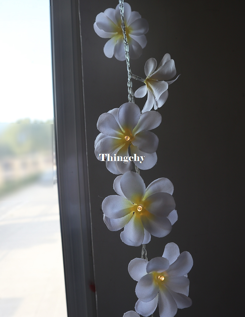 Creative DIY frangipani LED String Lights Batteri blomsterferie - Ferie belysning - Foto 5