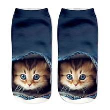 3 Pair Popular Casual Women Low Cut Short Socks 3D Printed Animal Cat Anklet Hosiery Ladies Short Socks Art Picture Girls Socks