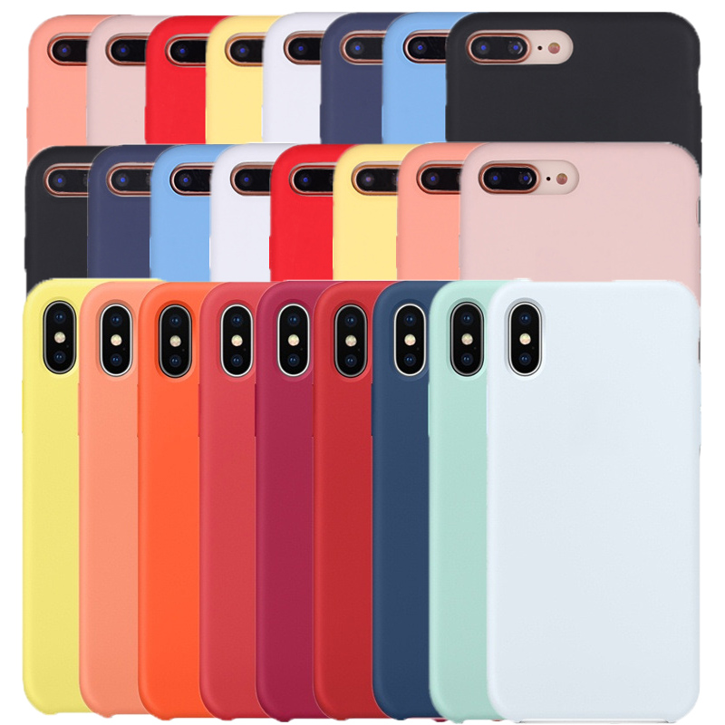 Silicone Case For iPhone 7 8 Plus For Apple Case For iPhone XS Max XS XR X SE 5 5s 6 6s 7 8 With Retail Box(China)