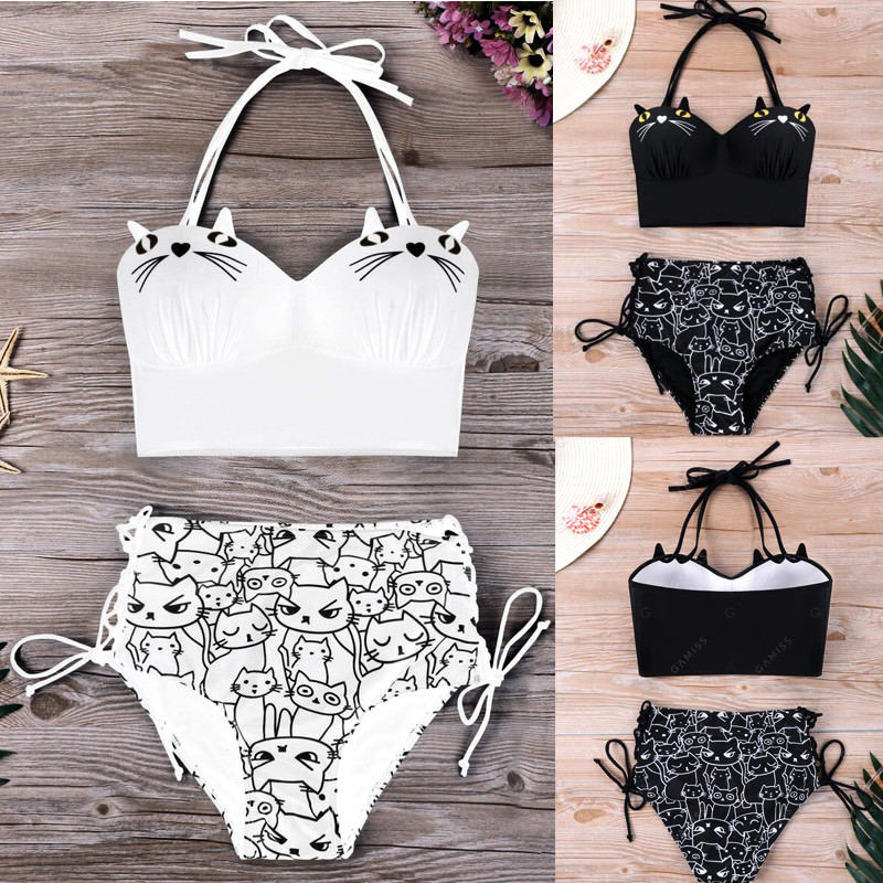 2018 Women High Waist Bikini Set Cute 3D Cats Print Swimwear Swimsuit Women Push-Up Padded Bathing Suit Beachwear Plus Size