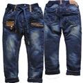 3974 4-7 лет зима мальчики джинсы брюки джинсовые и флиса двухэтажных темно-синий прямые брюки детей детская одежда
