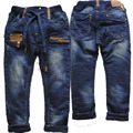 3974 4-7 years winter boys jeans pants denim and fleece Double-deck navy blue  straight  trousers kids children's clothing