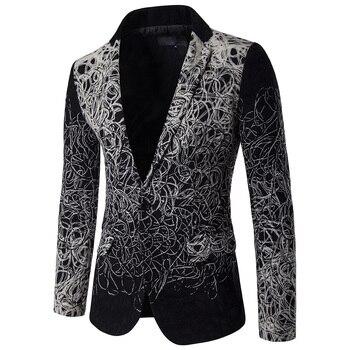 Boutique men's suit jacket flower design single-breasted casual blazers men Slim jacket Male blazers Mens coat Wedding dress