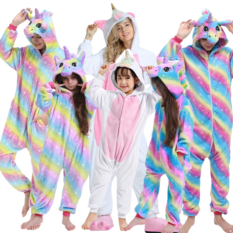 Adults Kids Kigurumi Pajamas Unicorn Stitch Panda Pajamas Kids Onesie Cartoon Women Sleepwear Baby Pyjamas Boys Girls Costumes