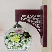 Chinese Style painting Ceramic Bedroom Bedside Wood Wall Light Study Room Wall Lighting Fixtures Corridor Wall Lamps