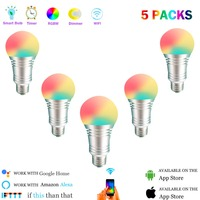 Smart Light Bulbs,60W Equivalent Smart Bulb,Dimmable Warm White and Color Wifi Light Bulbs, No Hub Required LED Bulbs(5 Pack)