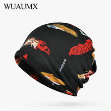 Wuaumx Fall Winter Skullies Beanies Hats Women Feather Pattern Baggy Ski Beanie Plus Velvet Ring Scarf Hip-Hop casquette femme