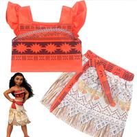 Baby Girls Tutu Skirt Fluffy Kids Baby Girl Moana Vaiana Cosplay Skirt Halloween 2pcs Princess Tulle