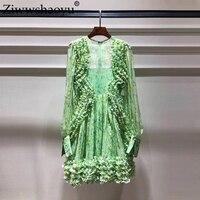 Ziwwshaoyu пляжный отдых Мини платья с круглым вырезом кружевные буфы на рукавах элегантные вечерние 100% шелковое платье Весна и лето новый для ж