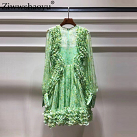 Ziwwshaoyu Beach Vacation Mini dresses O Neck Ruffles Puff Sleeve Elegant Party 100% silk dress Spring and summer new women's