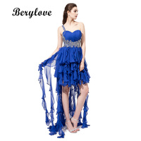 BeryLove Sweetheart Beading High Low Prom Dresses Ruched Ruffles Chiffon Women Party Dresses Backless Cheap Party
