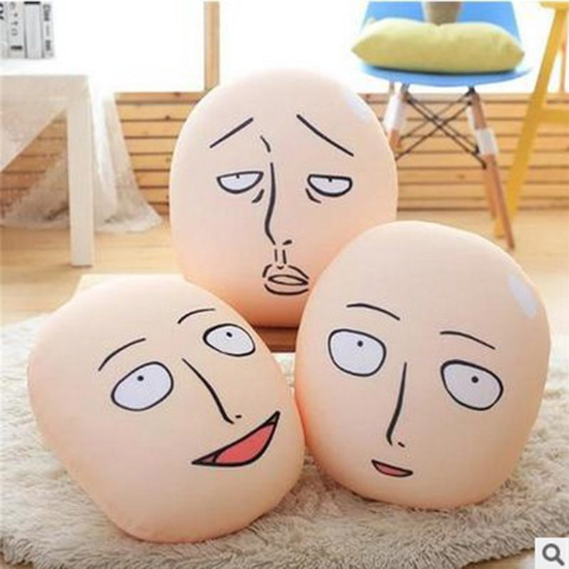 1pcs Anime One Punch Man Head Plush Pillow Cushion One Punch Man Saitama Bald Superman Stuffed Toys for Kids Chritmas Gifts