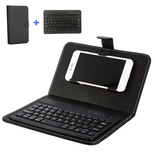Portable PU Leather Mini Wireless Bluetooth Keyboard + Case For Tablet Laptop Smartphone for iPhone 6 7 Protective Mobile Phone