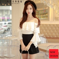 original 2018 brand spring fashion flare sleeve elegant off the shoulder black and white ruffled party playsuits women wholesale