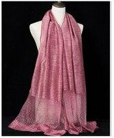 Hot Sale Design Silk Scarf Wool Shinny Head Muslim Wrap Shawl Stole Beach Cap Spring Autumn