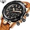 LIGE Men´s Luxury Casual Leather Military Waterproof Chronograph Sports Wrist Quartz Watches