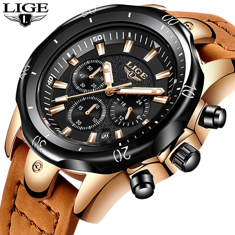2018 LIGE Mens Watches Brand Luxury Gold Quartz Watch Men Casual Leather Military Waterproof Sport Wrist Watch Relogio Masculino