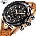 2018 LIGE męskie zegarki marki luksusowy złoty zegarek kwarcowy mężczyźni dorywczo skórzany wojskowy wodoodporny Sport Wrist Watch Relogio Masculino
