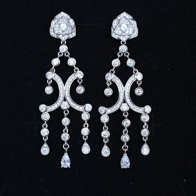 Luxury Fine Jewelry 925 Sterling Silver Rose Flower Earrings Stud Full AAA Zircon Tassels Earrings for Fashion Women To Wedding