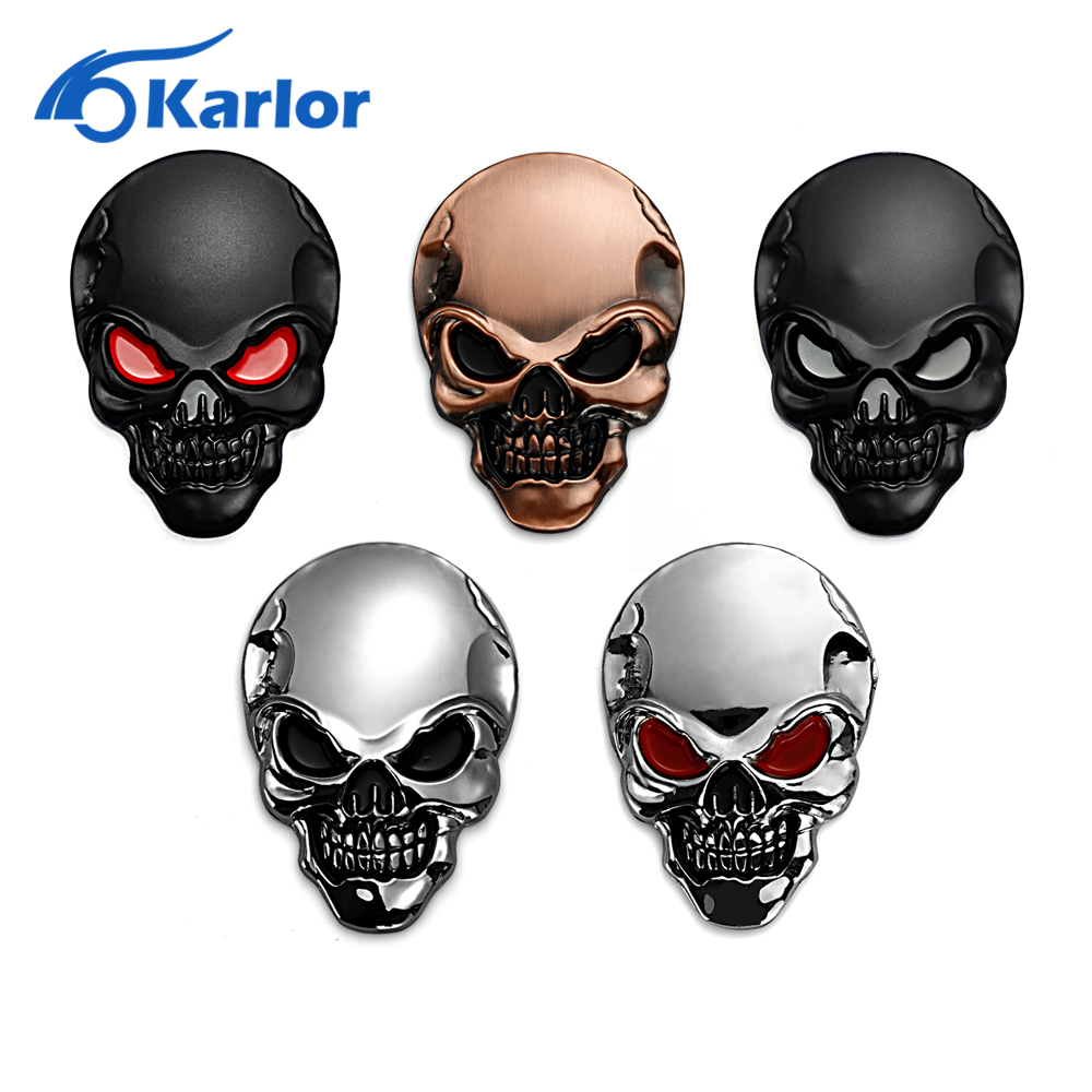 8x5 5cm Silver 3D 3M Skull Metal Auto Motorcycle Sticker Emblem Badge car styling For Ford