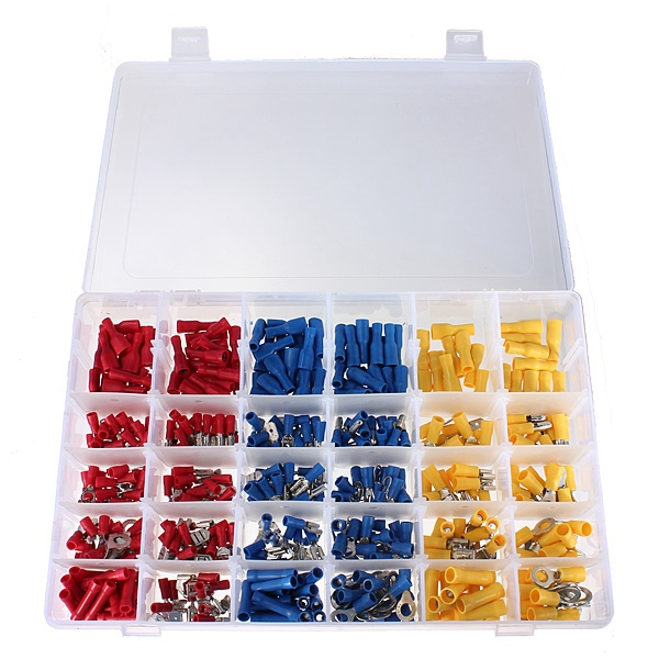 480pcs Insulated Terminals Crimp Connector Butt Spade Ring Fork Set yt 480pcs insulated crimp terminals seal butt electrical wire cable spade ring fork crimping connector set with storage box