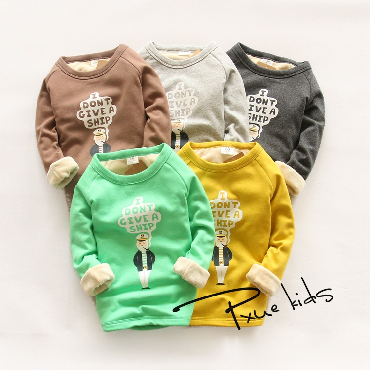 Oğlan qızlar Qış Plus məxmər İsti uzun qollu palto T-shirt - Uşaq geyimləri - Fotoqrafiya 2