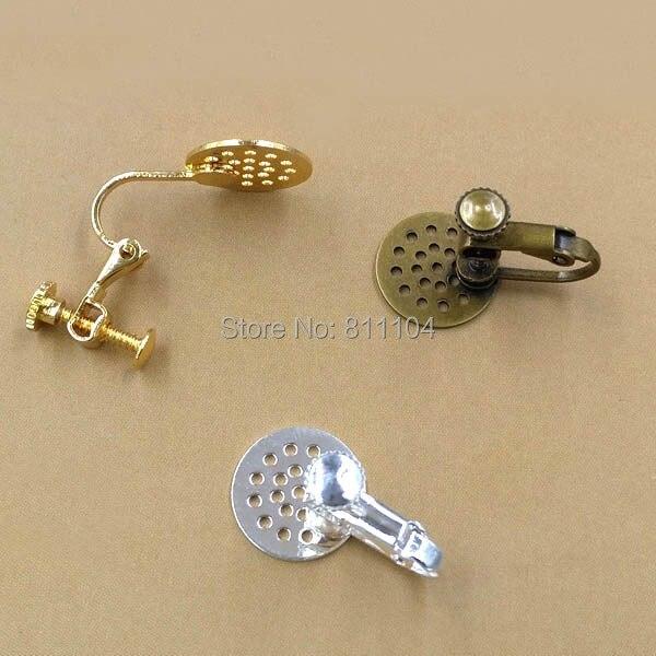 12 мм плоские круглые сережки настройки многоцветные позолоченные латунные металлические клипсы на винтовой задней части нет необходимост...