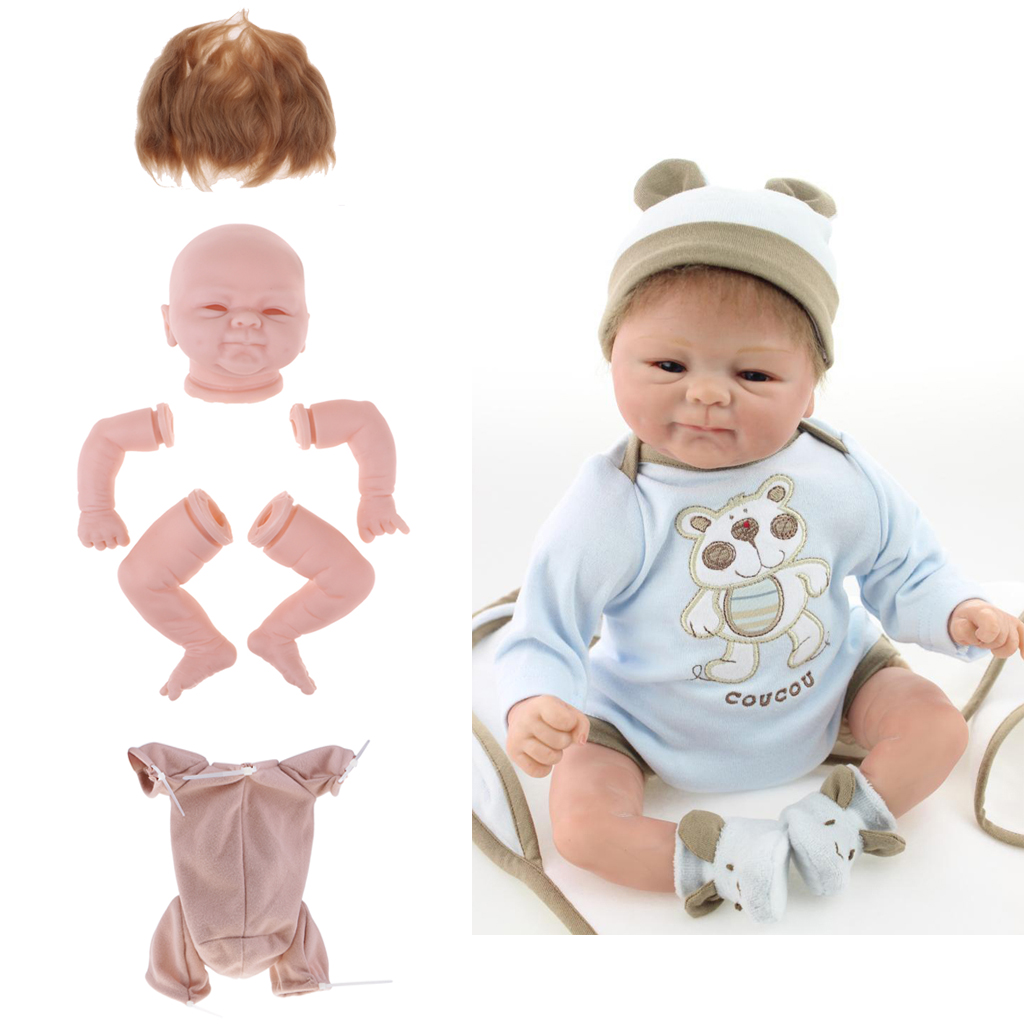 Unpainted Silicone 18inch Reborn Doll Kits Head Full Limb Mold Suede Cloth Body Mohair Straight Hair
