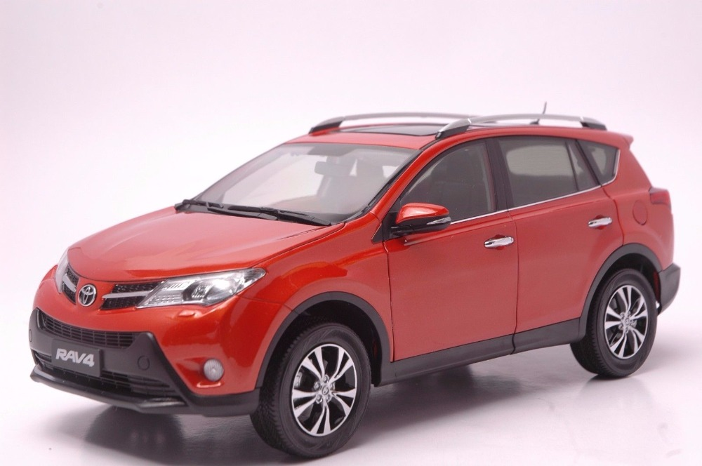 1:18 Diecast Model for Toyota RAV4 2013 Orange SUV Alloy Toy Car Miniature Collection Gifts