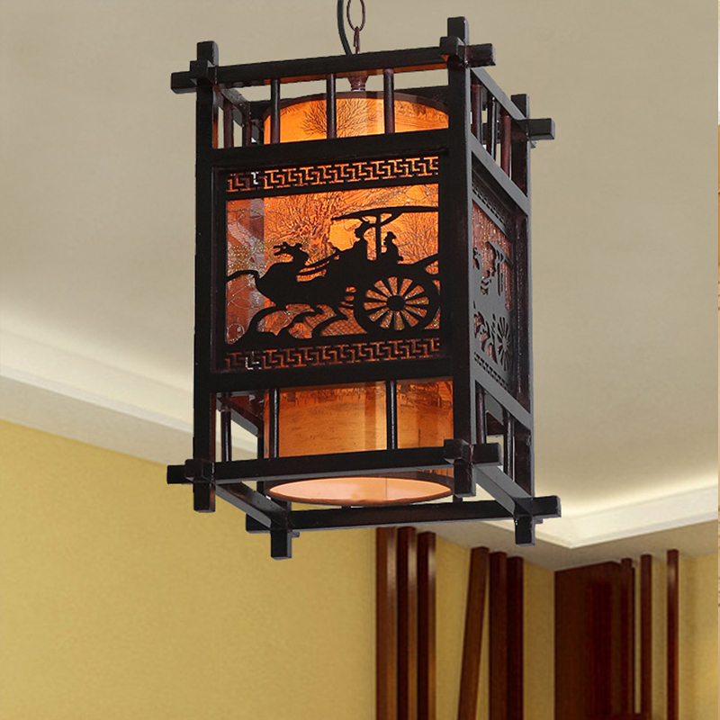HGhomeart Chinese style antique lamp single-head chandeliers restaurant creative Wooden carvings chandelier Led aisle lights e27 chinese style antique wooden sheepskin chandelier lamp three classical teahouse atmosphere restaurant head send bless