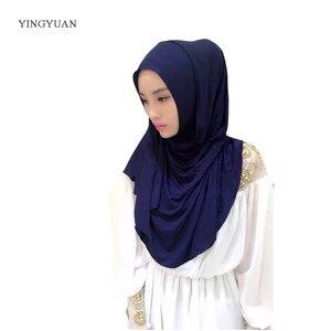 Image 5 - 0TJ57 180*70 cm Solide Einfach Hijab Frauen Von Schals Muslimischen Hijabs Hohe Qualität Hijab Schöne Mode Schal Kappe (with1 Undescarf