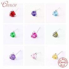 CANNER Birthstone Stud Earrings for Women 12 Colors Cubic Zircon Ear Piercing Jewelry Genuine 925 Sterling Silver