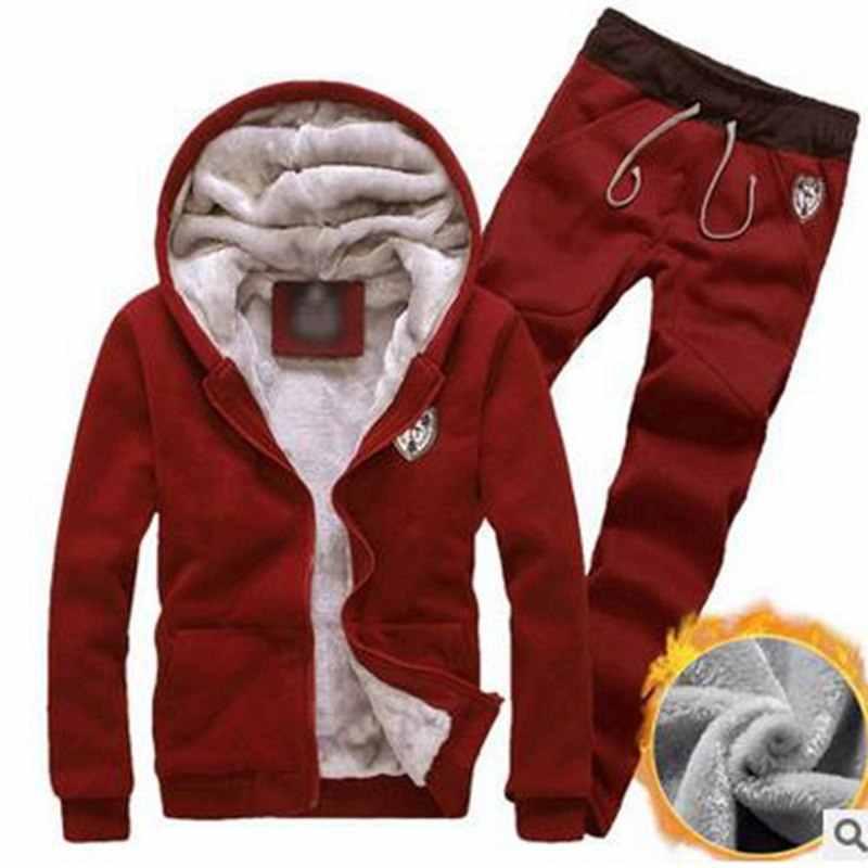 LAAMEI зимние толстые мужские спортивные костюмы, спортивный костюм с капюшоном, Спортивная одежда на молнии, флисовые куртки с капюшоном + штаны с эластичной резинкой на талии, повседневный мужской комплект