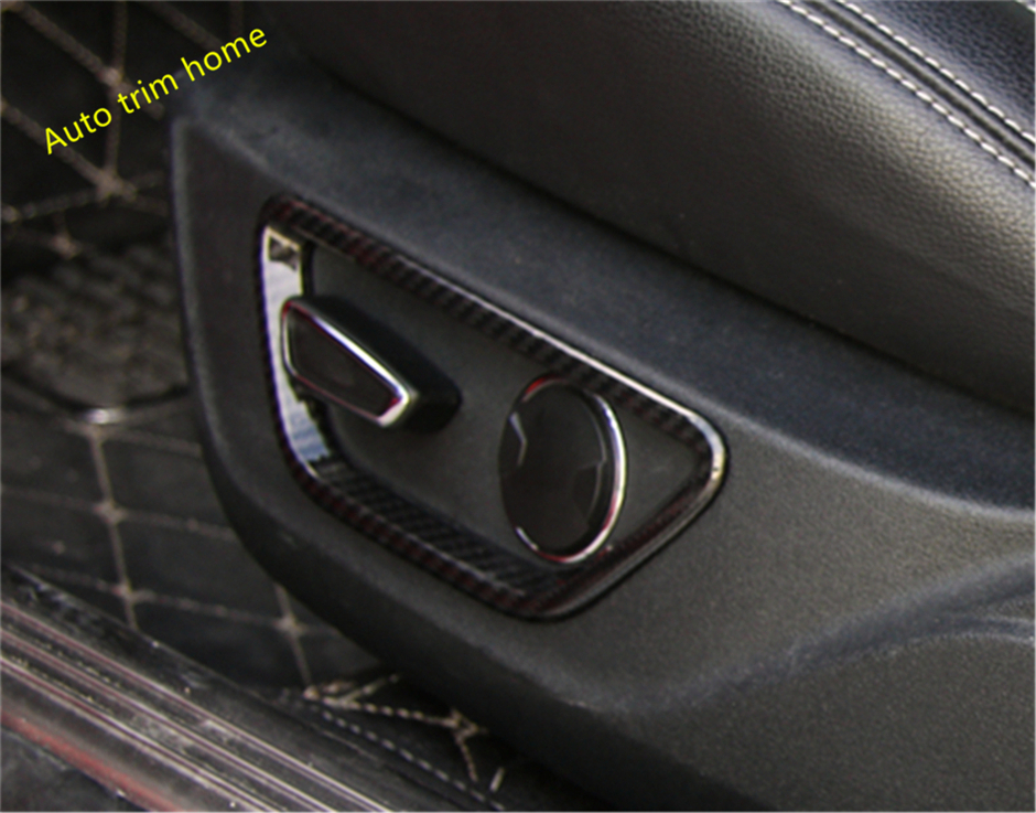 Lapetus Carbon Fiber Style For Ford Mustang 2015 2016 2017 ABS Seat Chair Backrest Adjustment Button Molding Garnish Cover Trim abs accessories for ford mustang 2015 2016 2017 carbon fiber style car seat backrest adjustment handle frame cover kit trim