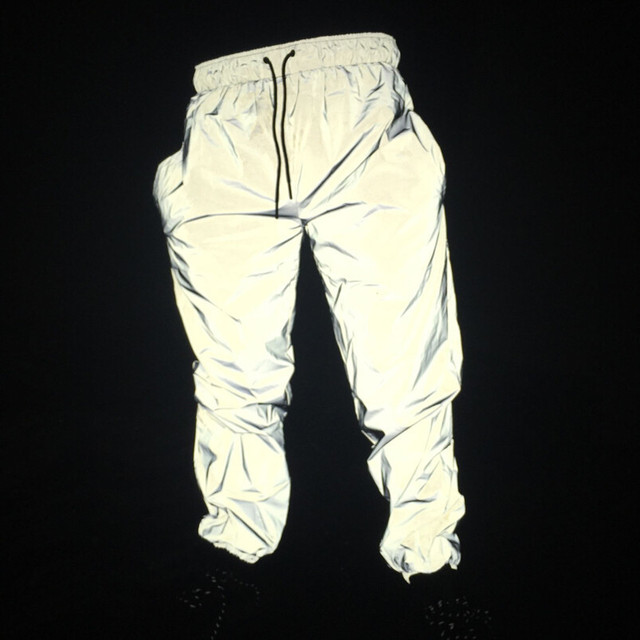 Autumn men casual reflective pants hip hop joggers women full reflective hiphop dance trousers night club pants stage costume