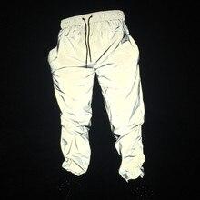 Jesień mężczyźni dorywczo odblaskowe spodnie joggersy hip hopowe damskie pełne odblaskowe spodnie do tańca hiphop night club spodnie kostium sceniczny