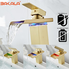 Sink Faucet Bathroom-Sink-Mixer Brushed Led-Basin Temperature Brass Golden with Cold