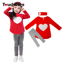 3PCS LOVE SET 1pc Hair Band 1pc Shirts 1pc Pants Children S Clothing Set Girls Clothes