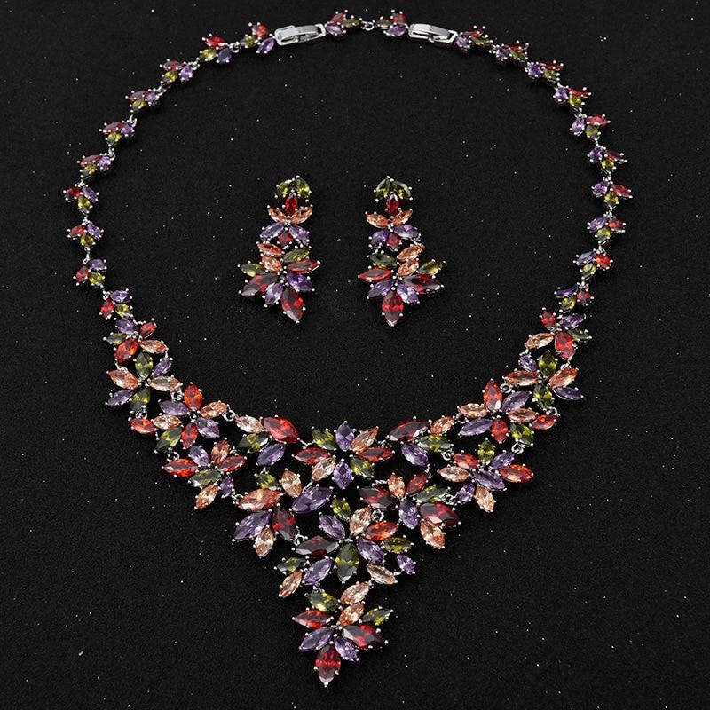HIBRIDE Luxury Design Multicolor Rhinestone Flower Shape Pendant Necklace/Earrings Rhodium Plated Jewelry Sets For Women N-82 graceful rhinestone bird shape necklace for women