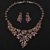 Hibride luxury design multicolor rhinestone flower shape pendant necklace earrings rhodium plated jewelry sets for women.jpg 200x200