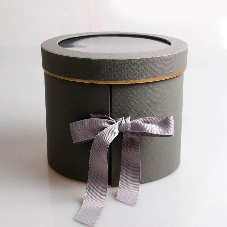 Двухслойные круглые бумажные коробки для цветов с лентой букет роз Подарочная упаковка картонная коробка День Святого Валентина свадебные украшения - Цвет: grey