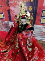 32cm Collectible Chinese Bride Dolls Vintage Gorgeous BJD Doll With Flexible 12 Joints Body Souvenir Wedding Gifts For Girl