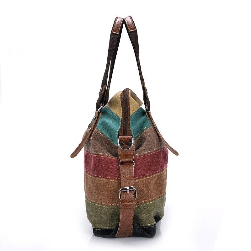 Canvas Tote Bags Striped Women Handbags Patchwork Women Shoulder Bag New Fashion Sac a Main Femme De Marque Casual Bolsos Mujer