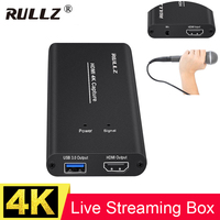 4K 1080P 60FPS USB 3.0 Video Game Capture Card Record Box,HDMI Pass to TV w/ MIC For PS4 Phone DSLR HD Camera PC Live Streaming